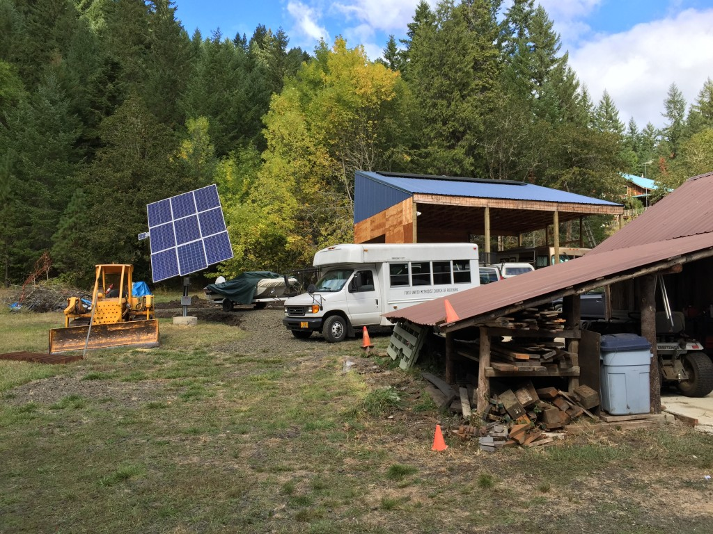 This off-grid tour host showed off his sun-tracking solar panel setup. Small solar-powered motors keep the panels rotating, so that they follow the sun all day for maximum exposure.
